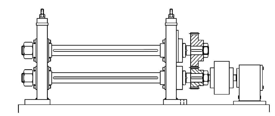 Shafts mounted on a roll forming stand without the rolls